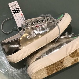 New Superga Mirror Silver Sneakers US7.5 platform